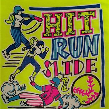 SALE Southern Chics Funny Hit Run Slide Softball Sweet Girlie Bright T Shirt