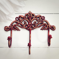Gift Ideas / Christmas Red / Ruby Red / Wall Hook / Hooks / Red Home Decor / Triple Hook / Key Hanger / Coat Hook / Organize / Ornate