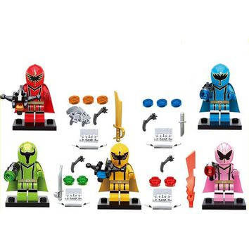 5pcs/lot Mighty Morphin Power Ranger Super Action Figures Battle Neuro Mystic Force Building blocks Bricks Toys for Kids Gifts
