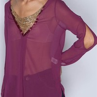 Chiffon Blouse With Gold Beading - Magenta at Lucky 21 Lucky 21