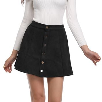 Argstar Women's Suede Button Closure Solid A-Line Mini Short Skirt New Year
