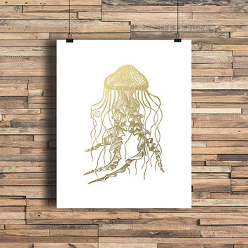 Jellyfish Faux Gold Foil Art Print - Sea - Minimalist Art- Home Office Bathroom Decor- Housewarming Gift - Wedding Gift - Baby Nursery Decor