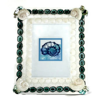 Pearl White and Blue Beach Style Seashell Frame