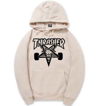 Thrasher Star Printed Long Sleeve Pullover Sweaters Hoodies
