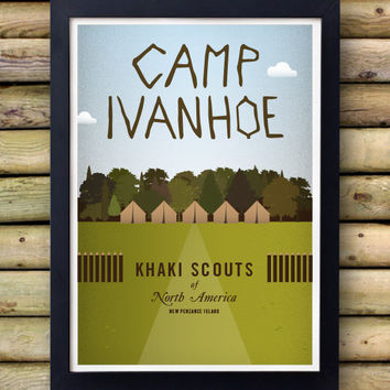 MOONRISE KINGDOM  - Camp Ivanhoe Poster - Wes Anderson -  rushmore life aquatic bill murray The Darjeeling Limited Roman Coppola