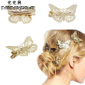 Alijimshop 2017 Amaing Coming Golden Butterfly Hair Accessories Hair Clip Headpiece Hair Head Side Decor Wedding Jewelry