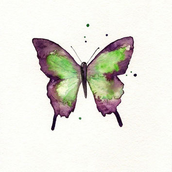 Butterfly/Dragonfly/Eggplant,Plum, Purple and Light Green/ Watercolor Print