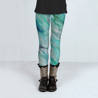 Seaweed Gauze Leggings by Beth Thompson Art (Leggings)