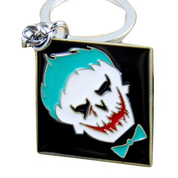 DC Marvel Suicide Squad The Joker Classic Logo Keychain Puddin Freaky Task Force Letter Keychain Movie Key Holder Souvenir