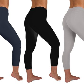 Womens 3 Pack Active Yoga Workout Capri Cropped Cotton Stretch Leggings