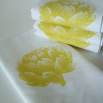 Vintage Etched Artichoke Hand Towel Napkins - Set of FOUR