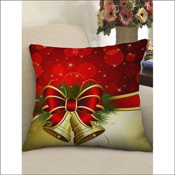 Christmas Bowknot Bell Printed Pillow Case - Red W18 X L18 Inch