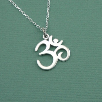 Script Om Necklace - sterling silver yoga jewelry - pendant charm - ohm