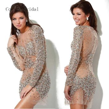 Cocktail Dress cd026 Top Quality Sheath Long Sleeves Beaded Sequins Mini Length See Through Crystal Dress Made in Real