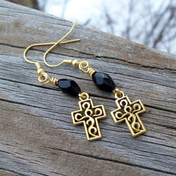 Golden Cross Earrings with Black Glass