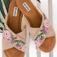 Rhythm Of Love Not Rated Embroidered Sandals (Nude)