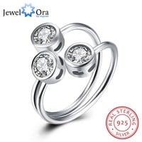 3 Stone Cubic Zirconia Solid 925 Sterling Silver Adjustable Rings For Women New 2016 Party Accessorise (JewelOra RI102186)