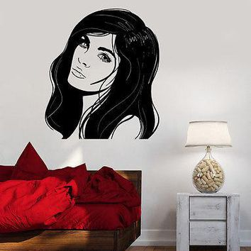 Wall Decal Fashion Girl Woman With Beautiful Hair Vinyl Sticker Unique Gift (z3618)
