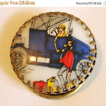 SALE Unique Antique Comic Cartoon Enamel Dress Buckle or Scarf Clip * Porcelain *Automobile * Woman * Man * 1940s * Vintage Jewelry * Jewell