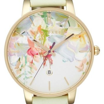 Ted Baker Round Dial Leather Strap Watch, 40mm   Nordstrom