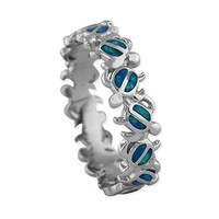 Sterling Silver Rhodium Plated Synthetic Opal Turtle Band Ring