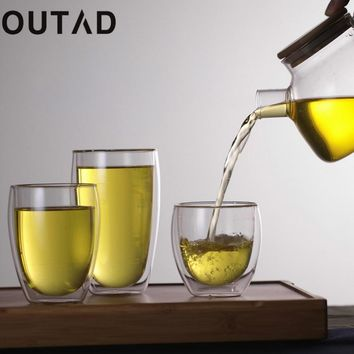 OUTAD 250ml/350ml/450ml Double Layer Wall Clear Glass Tea Cup + Bamboo Lid heat resistant Coffee Milk Thermal Insulation Mug