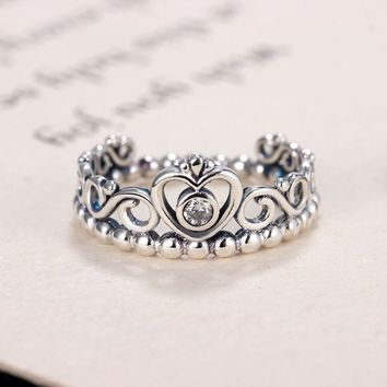 Fashion Plated Silver Color My Princess Queen Crown Engagement Pandora Ring with Clear CZ Women Jewelry Xmas Gift