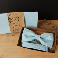 Mint Men's Wedding Set Bow Tie + Pocket Handkerchief by BartekDesign: white mint green tiffany blue line striped cotton chic grooms