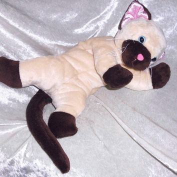 SEAL POINT CAT Stuffed Cat plush stuffed Siamese cat handmade floppy Ragdoll cuddly cat chocolate point unique Birman cat toy persian breed