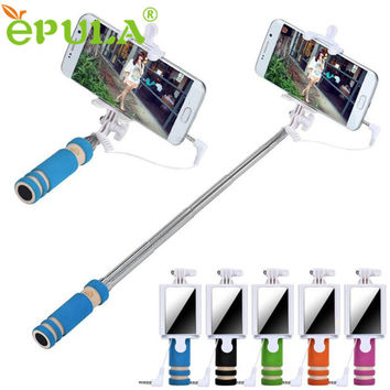 Hot sale EPULA Selfie Sticks Mirror Rubber Gifts Handheld Extendable Self Portrait Tripod Monopod Stick For iPhone Android Phone