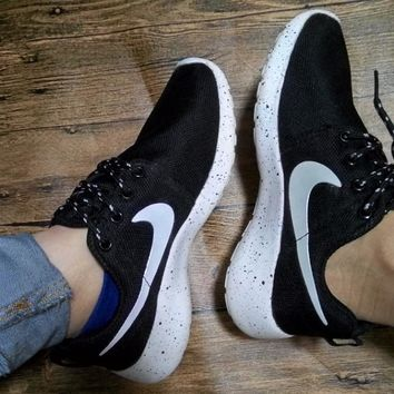 """NIKE"" Women Men Running Sport Casual Shoes Sneakers Black white starry sky soles"