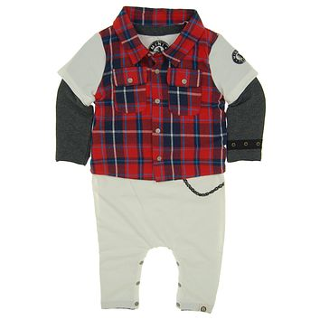 Red Plaid Vest Baby Romper by: Mini Shatsu