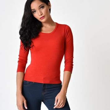 1940s Style Red Three-Quarter Sleeve Classic Sweater Top