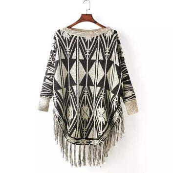Geometric Print Sleeve Fringed Asymmetrical Shirt