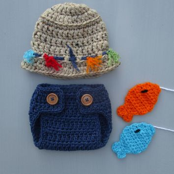 Fly Fishing Hat And Diaper Cover Set Crochet Newborn Photo Outfit