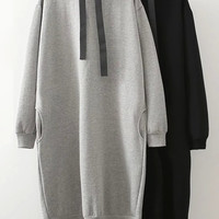 Gray Sporty Oversized Midi Dress