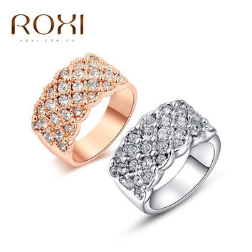 ROXI Classic Rings Rose Gold Plated Engagement Ring with Genuine Austrian Crystal Fashion Jewelry Elegant Womens Classical Rings