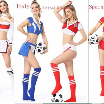 2018 Spain World Cup Football Cheerleading costume Sexy Women's Fantasy Football Adult Role Play Cosplay Lingerie Costume Set
