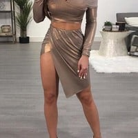 Khaki Irregular Off Shoulder Backless Slit Two Piece New Year Party Mini Dress