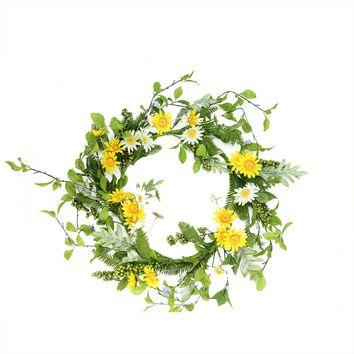 "22"" Decorative Yellow Sunflower and Cream White Daisy Artificial Floral Wreath Unlit"