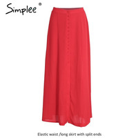 Simplee Split up bohemian chiffon skirts womens Vintage party elegant long skirt casual loose maxi beach summer red skirt