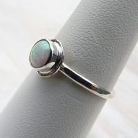 opal ring in sterling silver - made to order - opal jewelry - simple opal ring