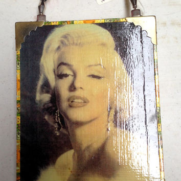 Handmade Marilyn Monroe Cigar Box Purse with Beaded Handle and Mirror