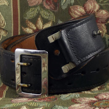 Don Hume Sam Brown Steampunk Security Duty Belt Black Leather w/ Metal Buckle B 101 36