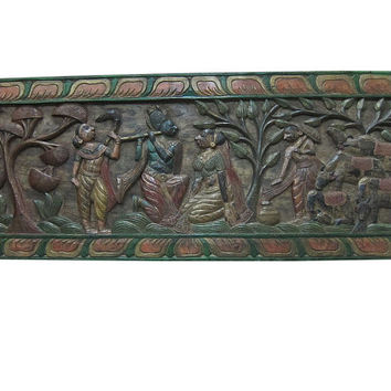 Indian Vintage Antique Wall Sculpture Hand Carved Radha Krishna Gopis Indian Carving Wall Panels Multi colored eclectic Decor