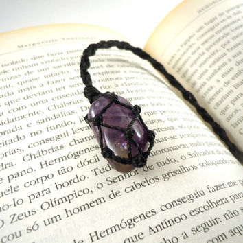 Amethyst book marker, book lovers gift idea, wrapped crystal, birthstone book marker, crystals and gems, friend gift idea, wrapmeacrystal