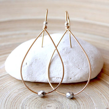 Gold and Silver hoop earrings, Teardrop earrings in mixed metal, Minimalist style, Prom 2015, Big Teardrop earrings, Spring trends, Oblong