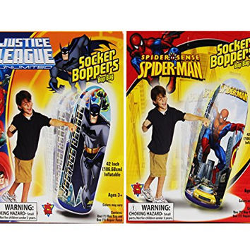 "Justice Leage Unlimited 42"" Socker Boppers Batman And Spiderman Bop Bag For Age 3+"