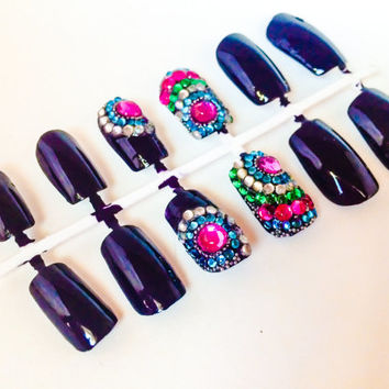 Purple fake nails rhinestone false nails bejeweled acylic nails sparkle artificial nails bejeweled nails with rhinestone in exotic design