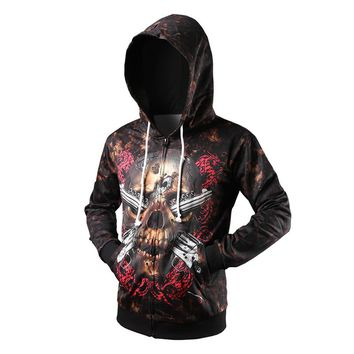New Fashion Spring Hoodies Men Style 3D Skull Printed Pensonality Sweatshirt Hip Hop Zipper Hoodies Pullover Chandal Hombre